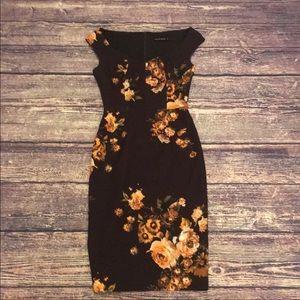 EUC Black Halo Waverley Brown Floral Dress Size 0